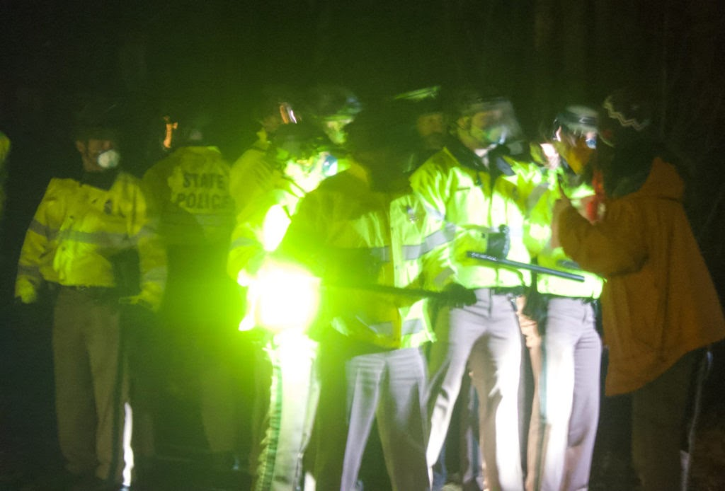 state police vs protester at Sununus house - pic by Chris Maidment